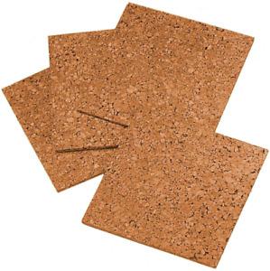 "Cork Tiles Cork Board 12"" x 12"" Corkboard Wall in Boards Natural 4 Pack"