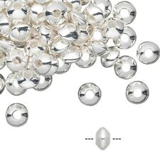 Lot of (100) Silver Plated Brass 5x3mm Smooth Saucer Beads