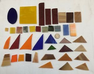 40 Pieces Stained Glass Pre Cut Shapes Mixed Color Art Mosaic Craft