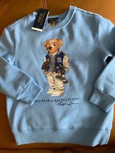 Polo Ralph Lauren fleece football polo bear sweatshirt NWT Sz M 10-12 youth M N