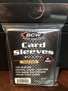 BCW Soft Card Sleeves 1 Pack of 100 Sleeves for Thick Cards