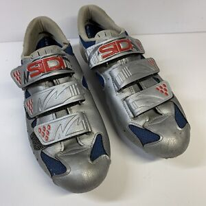 Sidi Genius Women's 38.5 Mesh Blue/Silver Road Cycling Shoes WITH Cleats 38 1/2