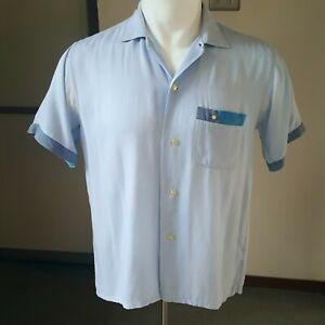 1950s Vintage Soft Rayon Gabardine Shirt M