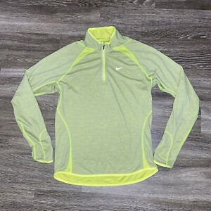 Nike Dri-Fit Mens Size Large Long Sleeve 1/4 Zip Pullover Reflective Yellow