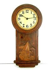 Hand Carved Wood Wall Clock Folk Art Primitive Alpine Mill Quartz Primex 4 Jewel