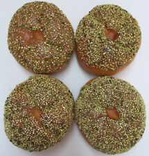 Lot Of 4 Faux Fake Food Everything Bagels Seeded Rolls Bread