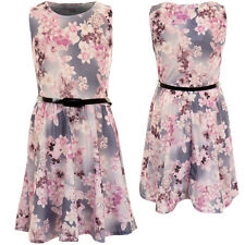 Girls Sleeveless Purple Lilac Floral Print Children's Belted Skater Flare Dress
