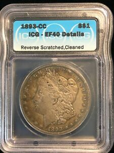 1893 CC Morgan Silver Dollar $1 EF40 Carson City Semi-Key Date S$1