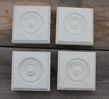 "New 4 Corner Block Bullseye Plinth Doorway Window Trim Composite Rosettes 3.5"""