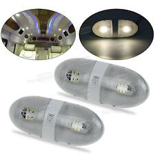 2x Euro Style RV Trailer Interior Double Dome Light Lighting Fixture 12V On-Off
