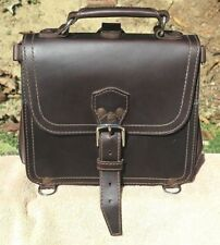 Saddleback Leather Old Papyrus Logo SMALL SATCHEL in DCB w/ Dark Smooth Pigskin