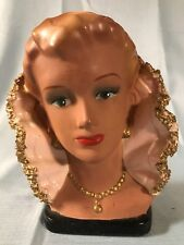 Lady Head Vase with High Collar Spaghetti Texture Gold Jewelry Tanned Appearance