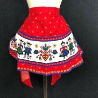 VINTAGE Swedish Folk Art Apron Heart Men Women Floral VIBRANT Color Half Waist