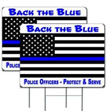 Thin Blue Line Flag - Back the Blue 2 Pack Yard Sign 18x24 Inch Sign Made in the