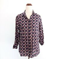 Sportscraft Size 8 Bird Print Long Sleeve Silk Cotton Blend Button Top Women's