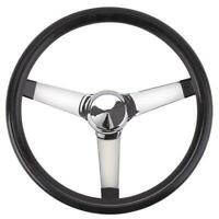 Speedway Classic Solid Spoke Steering Wheel, No Holes, Black, 13 Inch