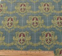 "Antique French 19thC Blue Heraldic Cotton Tapestry Fabric~L-24"" X W-17"""