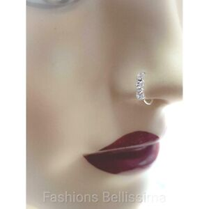 100% Solid Sterling Silver Small Thin Clear Crystal Nose Ring Stud Hoop Sparkly
