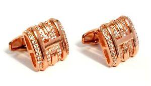 Shiny Crystal Elegant Style Women Men Fancy Stone Cufflinks with Gift Pouch