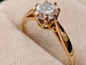 437F VINTAGE LADIES 18CT GOLD 1/2 CARAT .50 DIAMOND SI1/H SOLITAIRE RING SIZE H