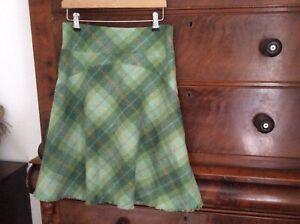 Ness -Green Tartan 100% Wool Skirt Uk 10