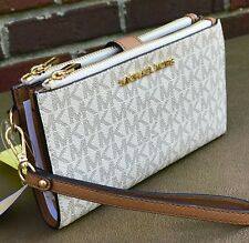 Michael Kors Vanilla MK Signature  Jet Set Double Zip Phone Case Wallet Wristlet