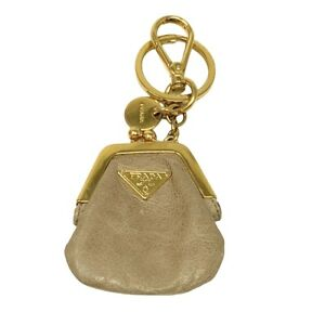 PRADA Logo Key Chain Coin Purse Accessories Mini Wallets Leather Beige RankAB