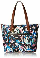 Fossil Fiona East West Painted Floral Tote Bag, Black Multi