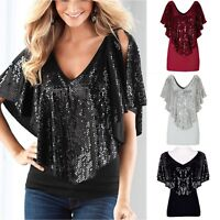 Womens Bling Sequin Pullover Lady Tank Short Sleeve T-Shirt Blouse Tops S/M/L/XL