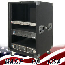 Amp Rack 16 U space on casters for Power Amplifiers Heavy duty carpet finish