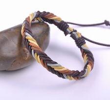 Surfer Colorful Handmade Hemp Leather Braided Unisex Bracelet Bangle Cuff Brown