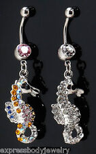 1 PIECE 14g Seahorse Horse Navel Belly Button Ring Dangle Clear CZ Gem