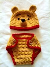 Hand Crochet  Baby Pooh Bear Photo prop Diaper Cover and Hat - NEW