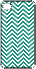 Chevron Teal Blue Designed iPhone 4 4s Hard Clear Case Cover