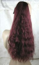 cherry red wavy curly frizzy puffy pony tail hair extension piece fancy dress