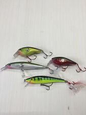 Bass fishing lures Rapala rattling with gamakatsu ewg hooks lot of 4