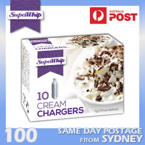 SUPAWHIP WHIPPED CREAM BULBS 10 PACK X 10 (100 CHARGERS) PURE NITROUS OXIDE N2O