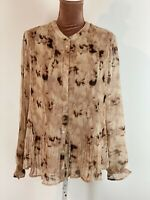 DRANELLA PEACH PLEATED BLOUSE Shirt Top CASUAL Boho 90's Retro SIZE S RPP £70