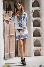 SPELL SANTORINI Dress Sz Small 8 10 White Blue Tunic cotton Dress