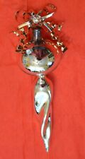 """Department 56 2 BLOWN GLASS TREE ORNAMENTS  Gold & Silver Tones 6"""" Long"""