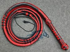 8 Feet 12 Plaits Red and black Real whip Top Grain Leather Heavy Duty Bullwhip