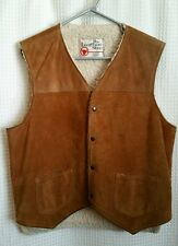 Vintage SEARS THE LEATHER SHOP Brown Suede Leather Sherpa Lined Vest Women's M