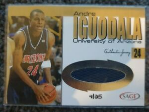 2004 SAGE Collegiate Andre Iguodala Gold patch 09/25 Rookie JS8