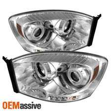 Fits 06-08 Ram 1500 06-09 Ram 2500/3500 Clear CCFL Halo Projector LED Headlights