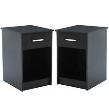 Black Modern Design 2Pcs Nightstands End Table Shelf Drawer Bedroom Furniture