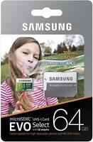 Micro SD Memory Card 64GB Samsung EVO Select 100MB/s SDXC Android Galaxy S9 4K