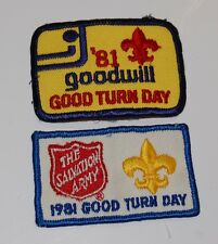 Boy Scouts 1981 Good Turn Day The Salvation Army & Goodwill Patch Lot