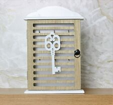 6 Hooks White Wooden Key Storage Box Wall Mounting Art Deco Hanging Keys Holder
