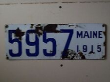 1915  Maine Porcelain License Plates #5957-Garage-Gas Station-Ford-Chevy-Dodge