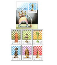 AFG9901 Chess block and 6 stamps